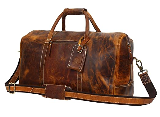 91e4080360 Leather Travel Duffel Bag - Airplane Underseat Carry On Bags By Rustic Town  (Brown)
