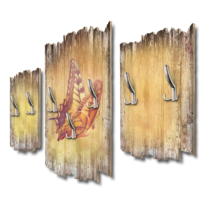 Kreative Feder Schmetterling Designer Wandgarderobe Flurgarderobe Wandpaneele 95 x 60 cm aus MDF DTGH087