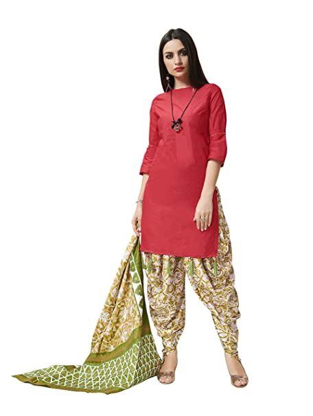 57a831ac47 Pisara Women's Cotton Printed Patiala Salwar Suit Dress Material,:  Amazon.in: Clothing & Accessories