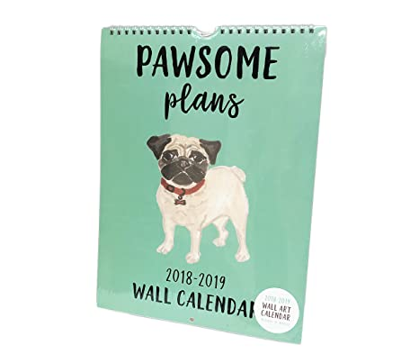 Amazon.com : Pawsome Plans Dog Themed 16 Month 2018-2019 Wall Art ...