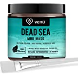 Organic Dead Sea Mud Mask - Face and Body Beauty Detox Treatment, Deep Skin Cleanser - Helps Reduce Pores, Acne, Stretch Marks, Cellulitis and Wrinkles - Brush Included - by Venu