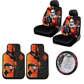 Harley Quinn 2 Pc Front Floor Mats And Seat Cover With Wheel