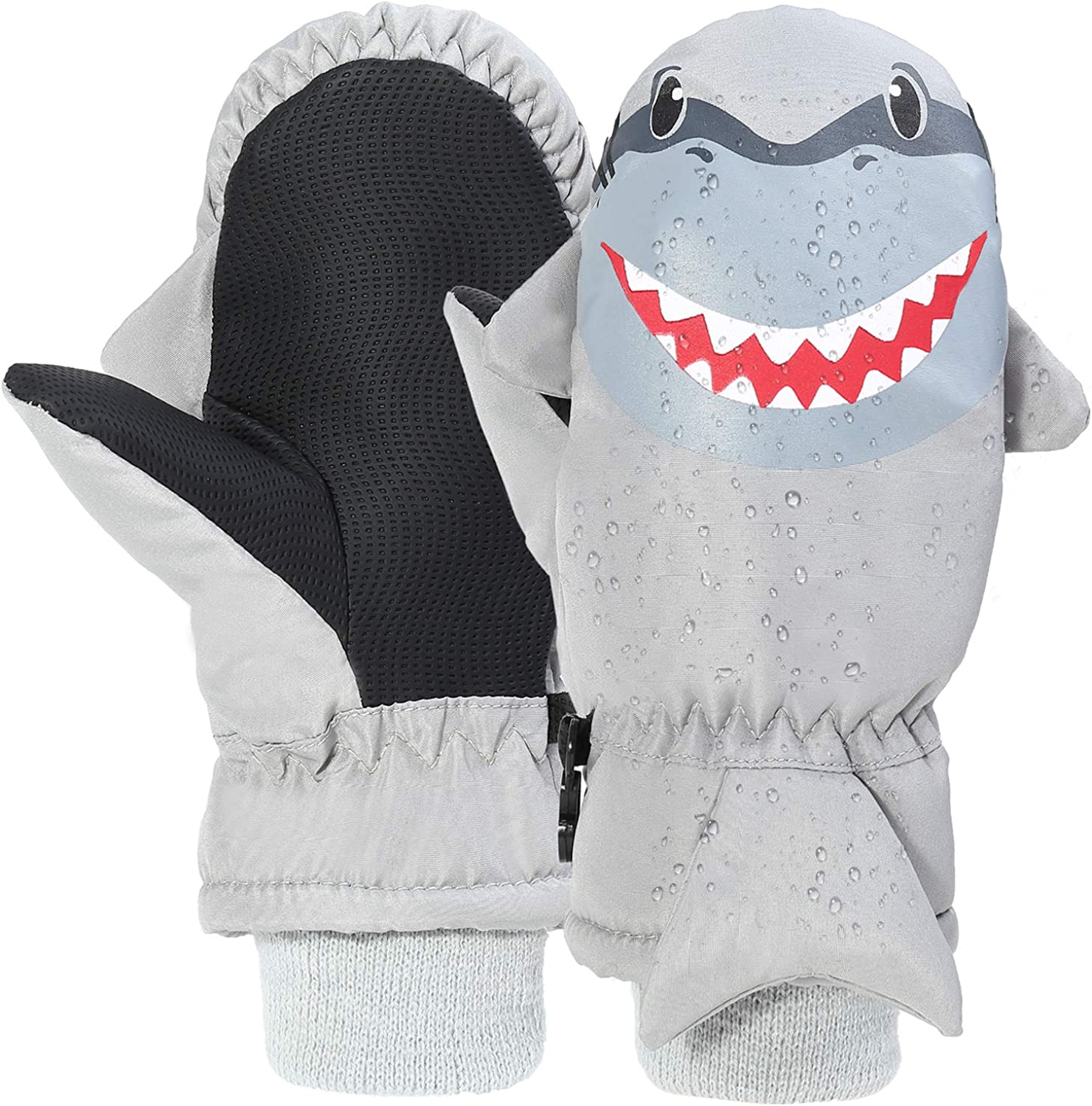 7-Mi Kids Winter Waterproof Ski Gloves Shark Warm Outdoor Sport Nylon Mitten for 3-6Y