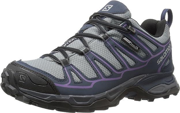 SALOMON Damen L38158500 Trekking & Wanderhalbschuhe, Pearl GreyDeep BlueRain Purple