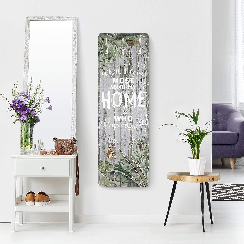 Bilderwelten Garderobe Garderobenst/änder Wandmontage Shabby Tropical Home is 139 x 46cm