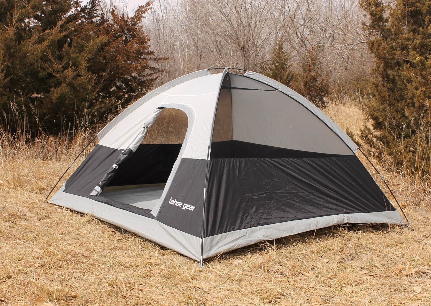 Amazon.com  Tahoe Gear Powell 3-Person 3-Season Dome C&ing Tent Black/Grey | TGT-POWELL-3  Sports u0026 Outdoors & Amazon.com : Tahoe Gear Powell 3-Person 3-Season Dome Camping Tent ...