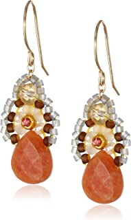 """product image for Miguel Ases Orange Jade and Created Quartz Drop Earrings, 1.4"""""""