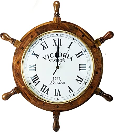 Nagina International Nautical Handcrafted Wooden Premium Wall Decor Wooden Clock Ship Wheels Pirate s Accent Maritime Decorative Time s Clock 16 Inches, Clock Size – 8 Inches
