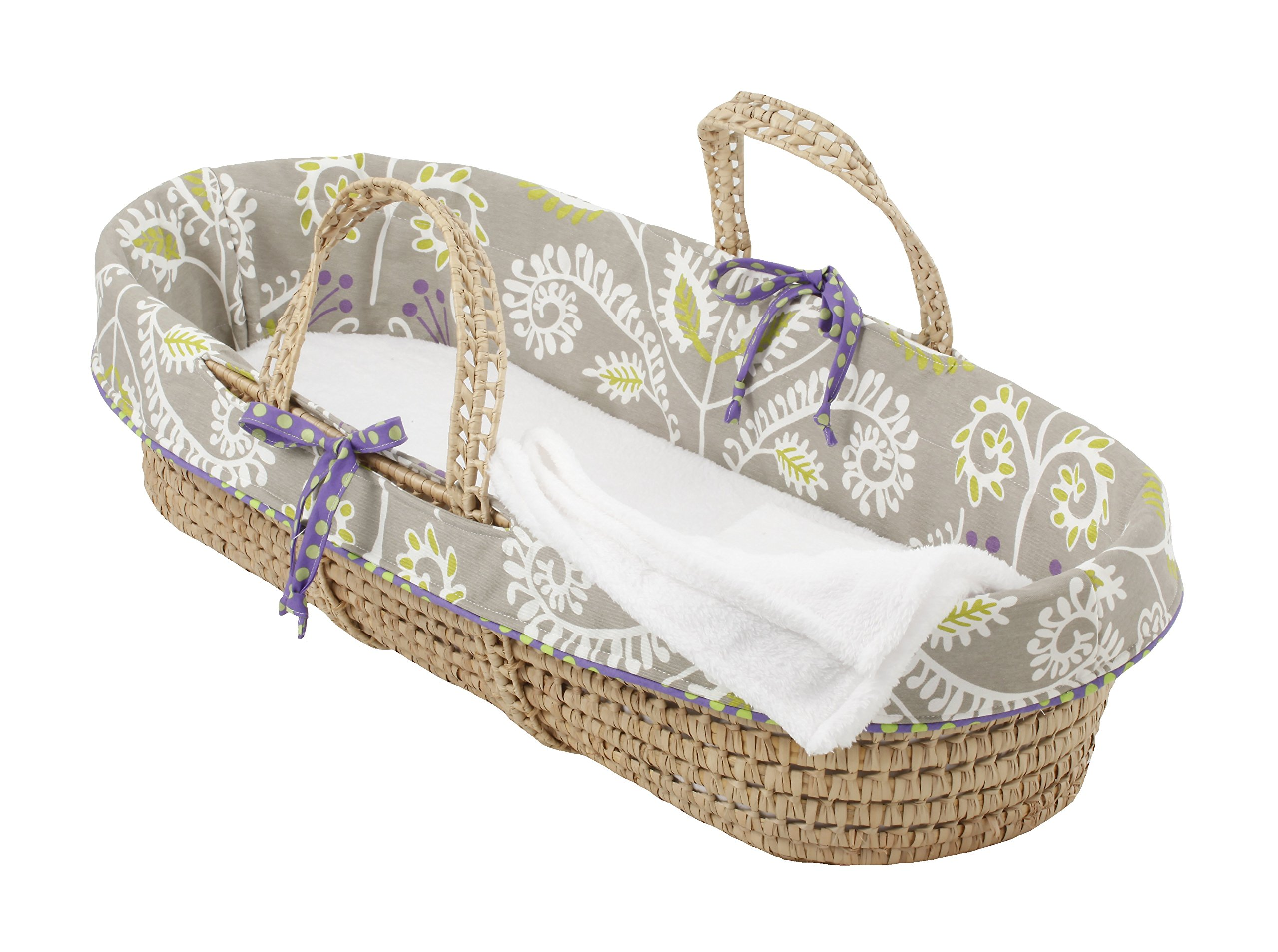 Cotton Tale Designs Moses Basket, Periwinkle/Girl