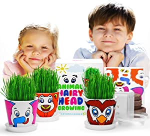 Growing Kit for Kids w Animal Stickers - Grow Wheatgrass Hair w Seeds, Soil, Pots - Great Gardening Science Gifts for Girls & Boys Age 5 6 7