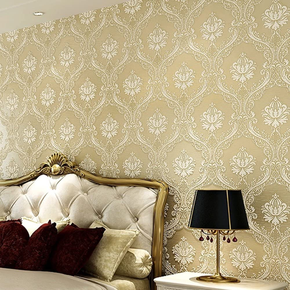 Yifely Light Beige Retro 3d Embossed Damask Non Woven Fabric Wallpaper Bedroom Office Home Decor 20 8 Inches By 32 8 Feet Amazon Com