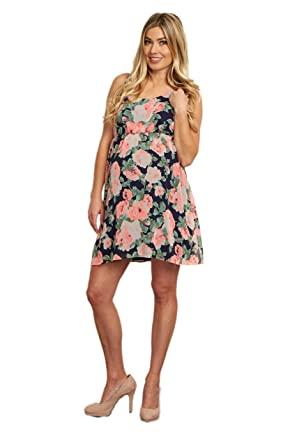 718748fc57c0 Image Unavailable. Image not available for. Color: PinkBlush Maternity Navy  Blue Neon Floral Chiffon Maternity Dress ...