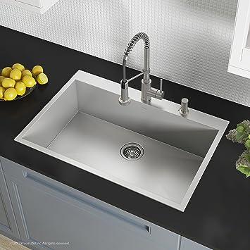 Kraus KP1TS33S 2 Pax Kitchen Sink Single Bowl, 33 Inch, 33
