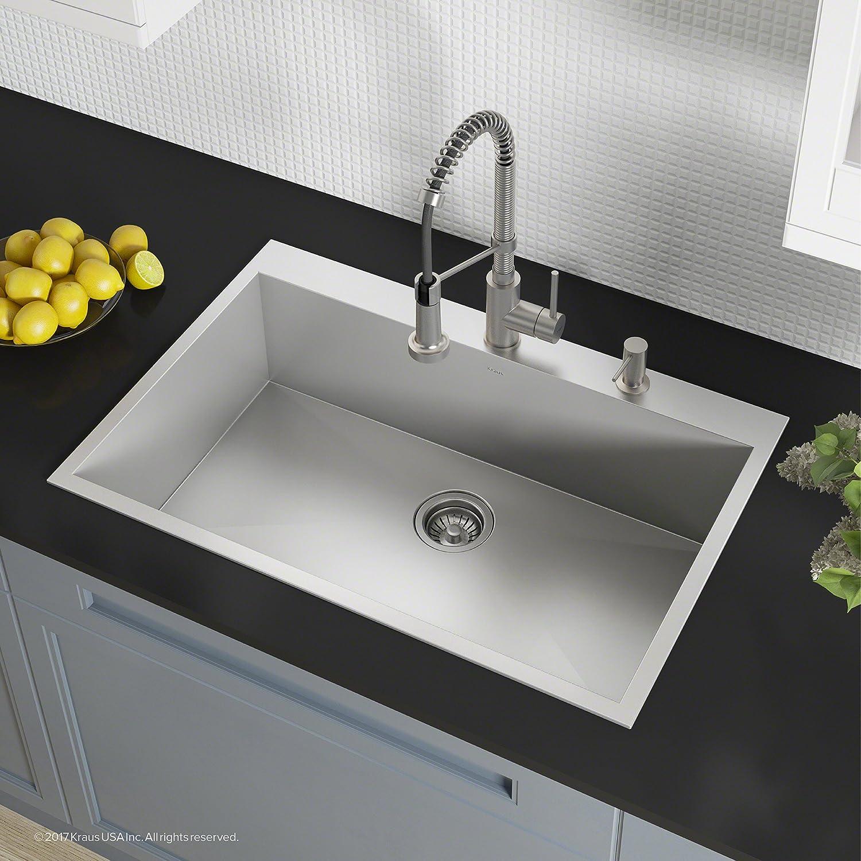 Kraus all in one kitchen set with pax zero radius 33 inch topmount single bowl tru16 gauge stainless steel drop in kitchen sink and bolden single handle
