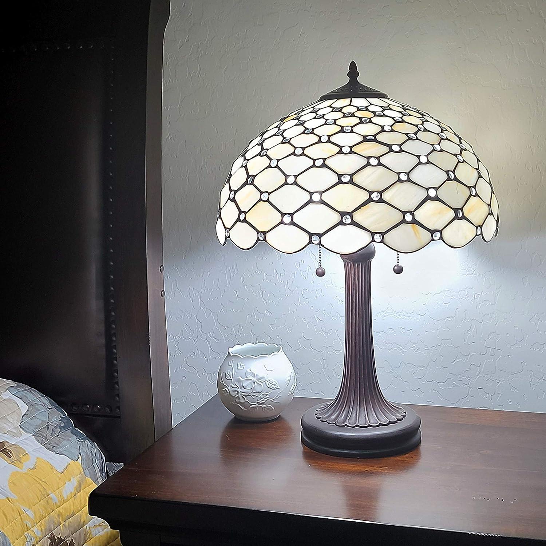 Amora Lighting Tiffany Style Table Lamp Banker Jeweled 26