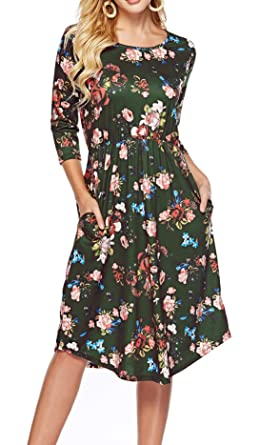de25fe73c Womens Dresses 3/4 Sleeve Round Neck Floral Casual Swing Midi Dress with  Pockets ArmyGreen