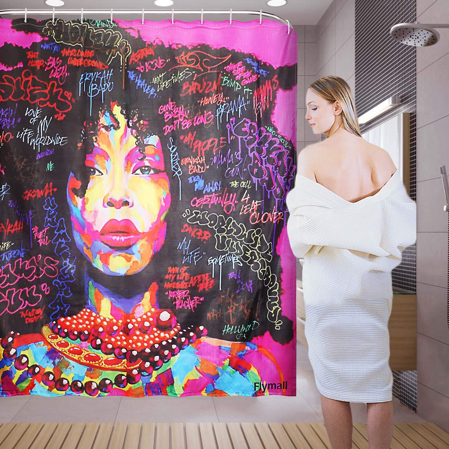 Flymall Shower Curtain Set,Waterproof Washable Polyester Fabric African Women Painting Shower Curtain Including 12-Pack Shower Hooks for Home Bathroom Decor(71 x 71)
