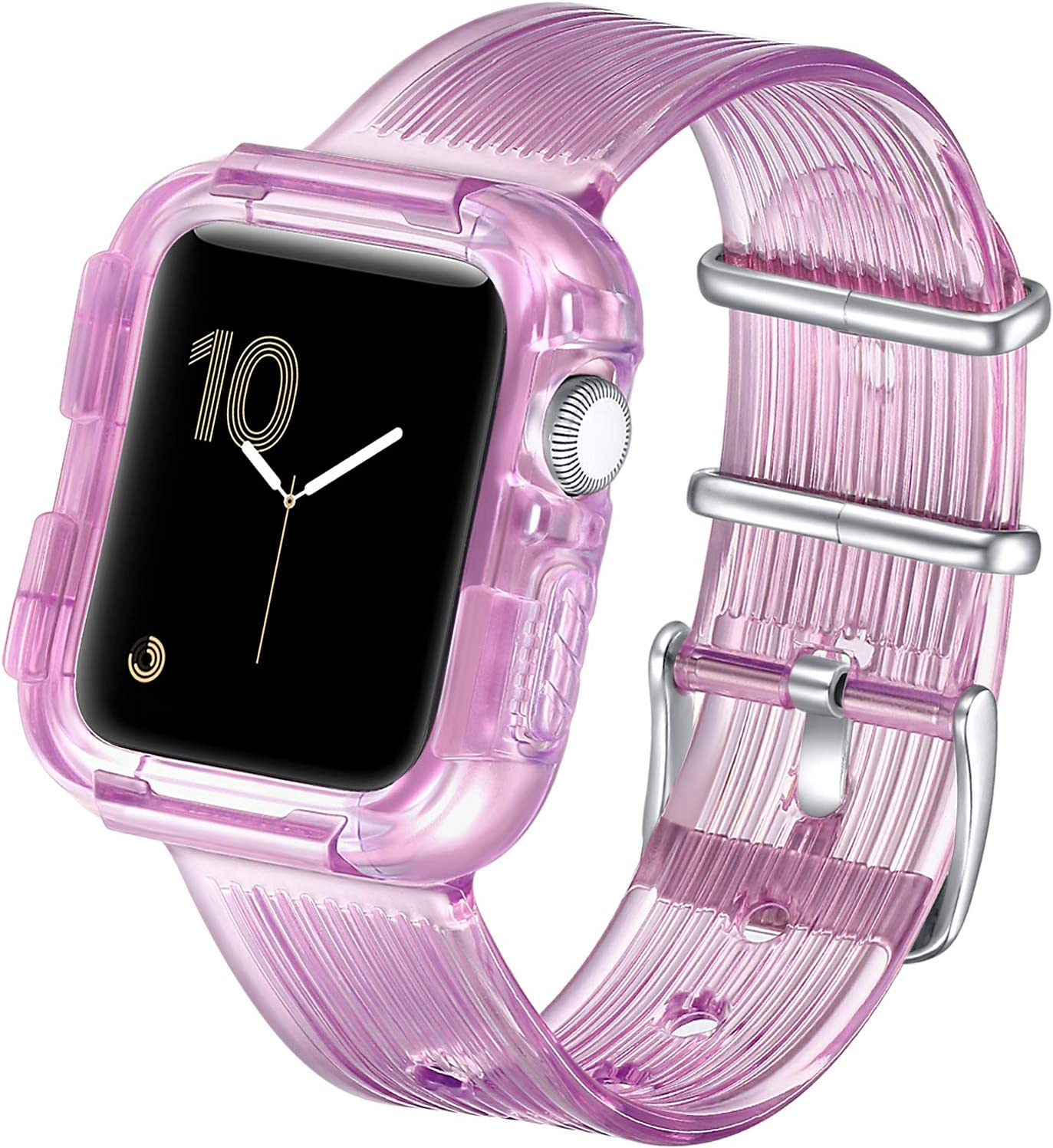 fastgo Compatible with Apple Watch Bands with Bumper Case 38mm/40mm/42mm/44mm, Women Men Clear Sports TPU Smart Watch Strap Band Wristband IWatch SE Series 6/5/4/3/2/1 (Crystal Purple, 42mm/44mm)