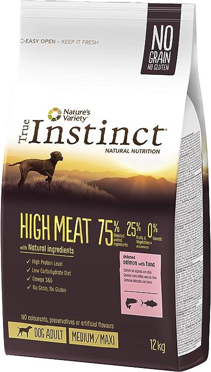 True Instinct High Meat Adult - Natures Variety - Pienso para Perros Medium Adult con Salmón - 12kg