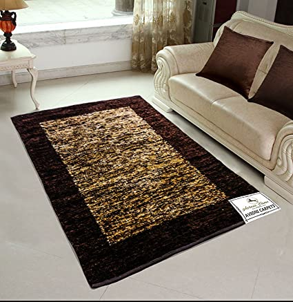 Avioni Polyester Blend Feather Touch Handloom Reversible Rugs for Living Room, 3x5ft (Brown)