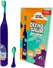 Deeno DEENO-Saur Electric Toothbrush Powered by AAA Batteries Included | Purple Colour | Suitable for Ages 3+ Years | 3 Brus