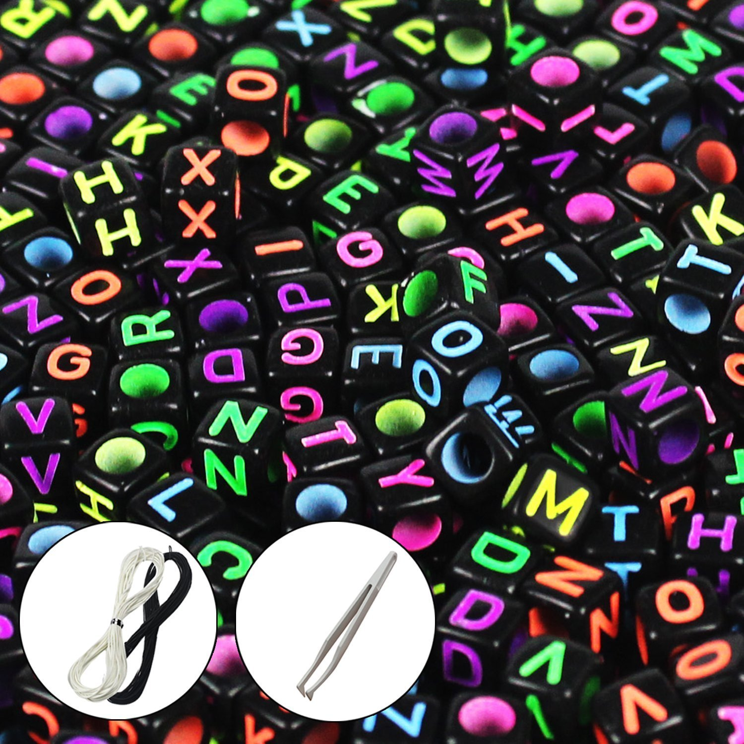 JPSOR Letter Beads Alphabet Beads Mixed Color Alphabet A-z Cube Beads for Jewelry Making for Kids DIY Bracelets, Necklaces (Black Beads with Colorful Letters) Goodlucky