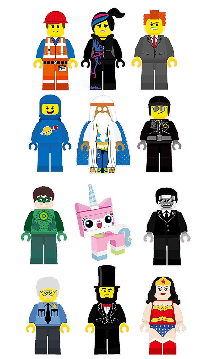 amazon com the lego movie characters removable wall stickers amazon com the lego movie characters removable wall stickers decal 12 piece set home kitchen