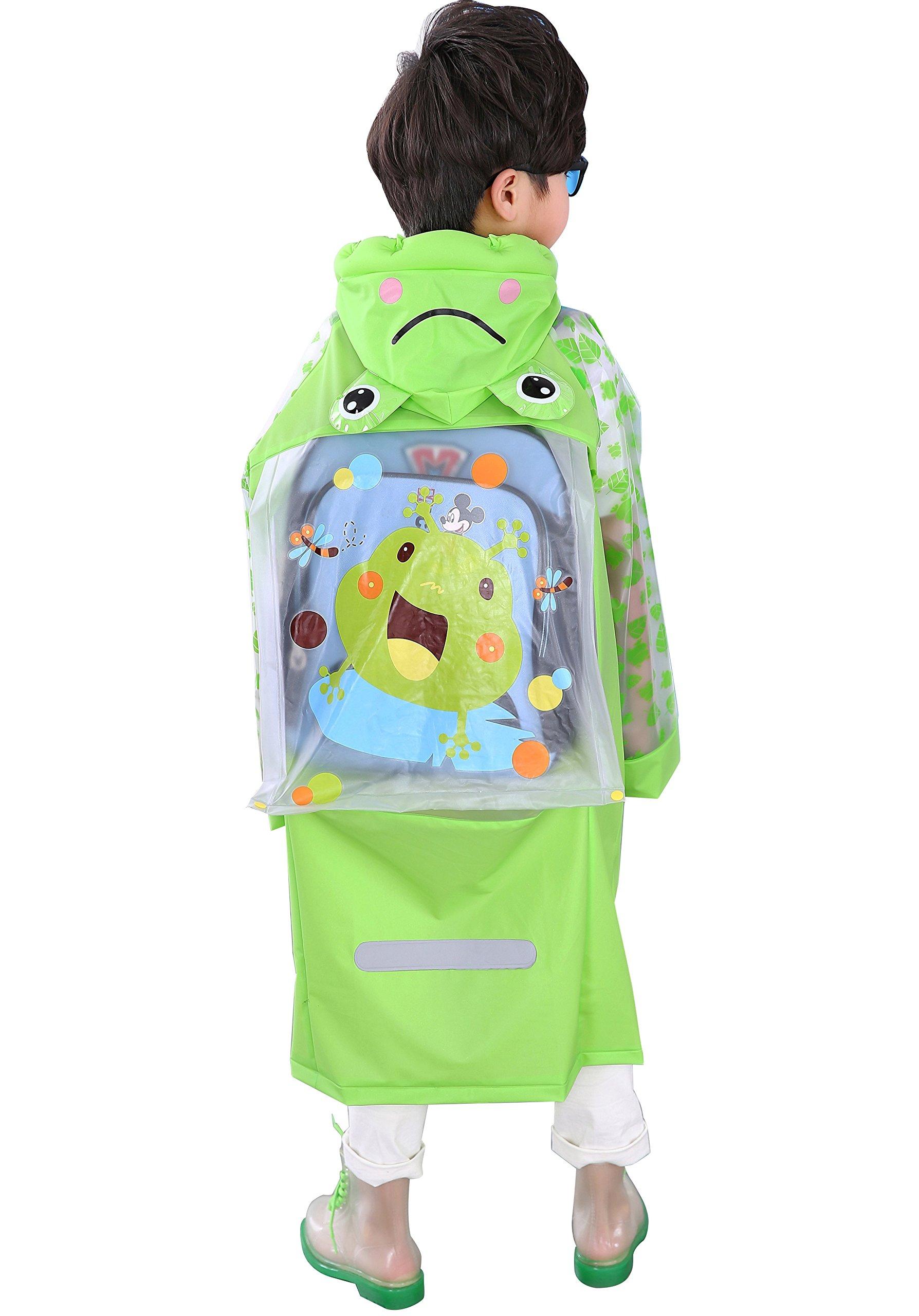 Aircee Waterproof Rain Coat Slicker for Kids, Girls, Boys, Poncho Jacket Gear (XL (Fit 4'3''~4'7'' Height), Green Frog)