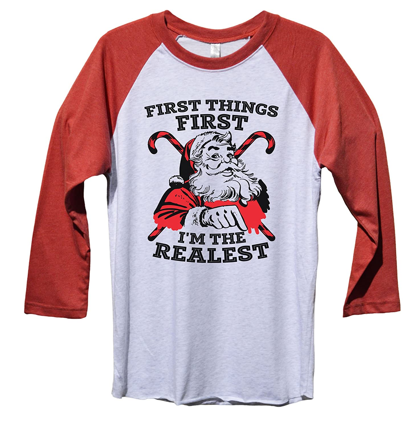 """f5344ecca9e Amazon.com  Funny Christmas Holiday Santa Shirt """"First Things First Im The  Realest"""" Funny Threadz  Clothing"""