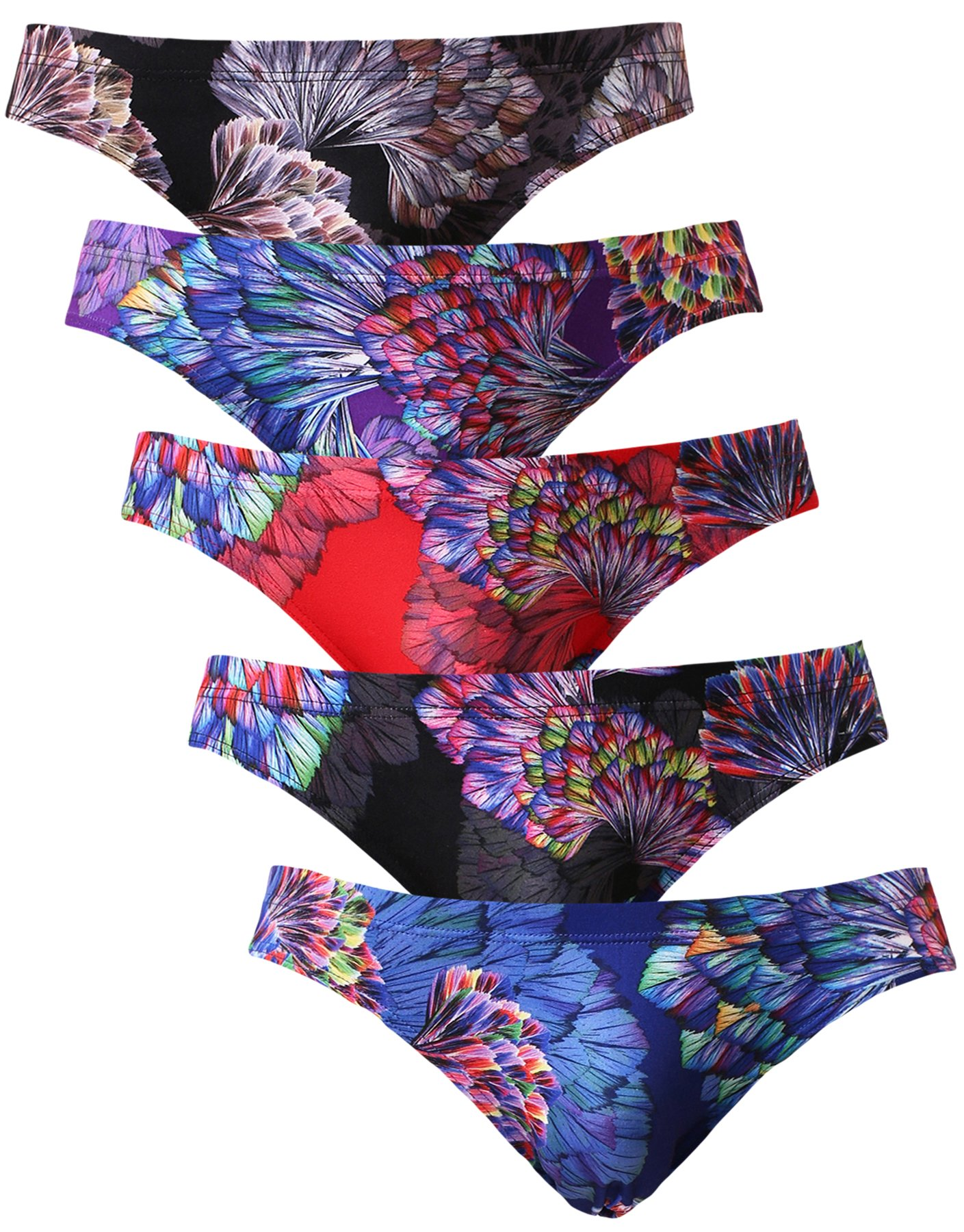 NEIKU Men's Sexy Ice Silk Bikini Underwear Low Rise Seamless Breathable Briefs 5 Pack L