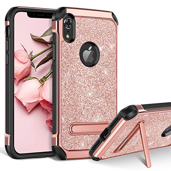 buy popular 3e194 a4157 iPhone XR Case, BENTOBEN iPhone XR Girly Phone Case 2018, Glitter Bling  Sparkle Kickstand Girly Cover Dual Layer Heavy Duty Hard PC Soft TPU ...