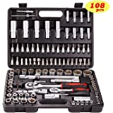 "Toolrock Socket Ratchet Wrench Set - External Torx Screwdriver Bit 108pcs 1/2"" 1/4"""