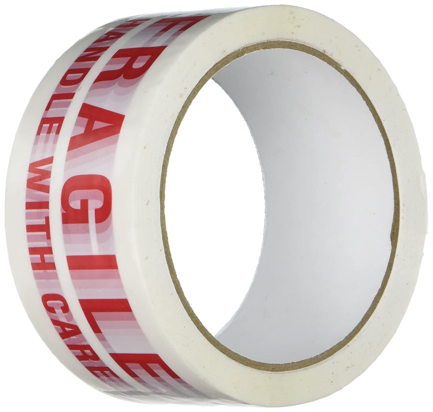 TapeCase 150SP-12 Printed White Carton Sealing Tape with Red Lettering -'Fragile Handle w/care' - 2' x 55yds (1 Roll)