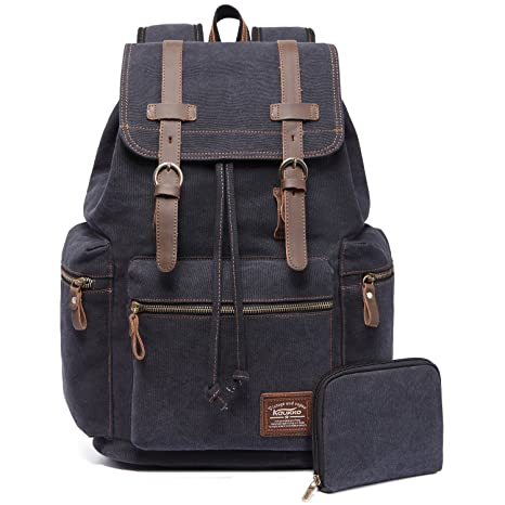 e73c864907 KAUKKO Vintage Canvas School Backpack Multi-Functional Hiking Travel  Millitary Rucksack for Men and Women  Amazon.co.uk  Luggage