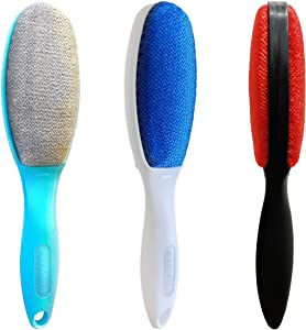 ezclean 3 Pack, 3 Colors, Lint Brush for Clothes, Furniture, Double Sided Pet Hair Remover Brush, Reusable Cleaner for Dog Cat Hair, Couch, Magic Velvet Lint Brush