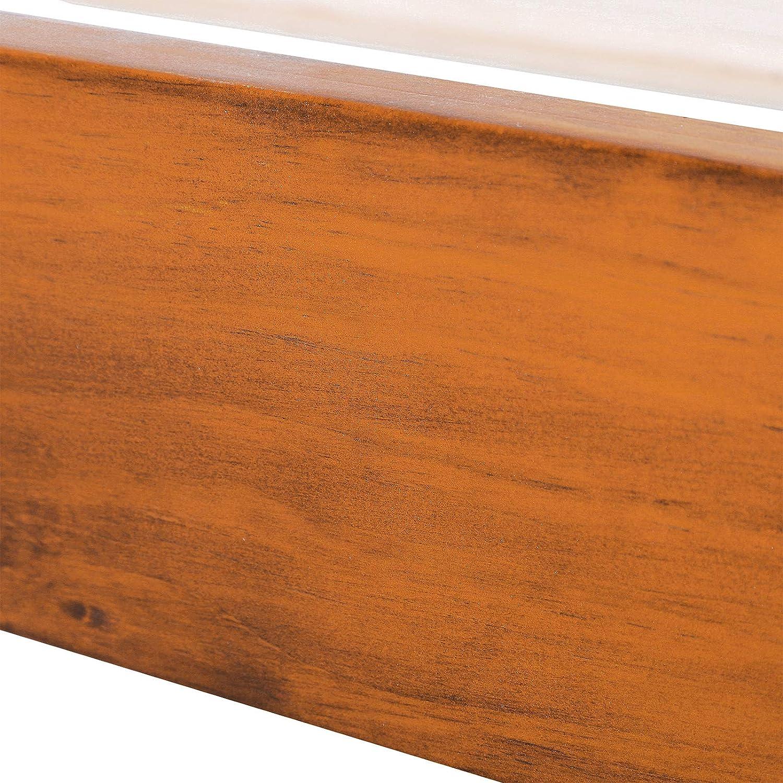 HOMCOM Marco de Cama Doble de Madera de Pino para Dormitorio Cama de Metal Estructura Carga 250kg 139.3x195.5cm
