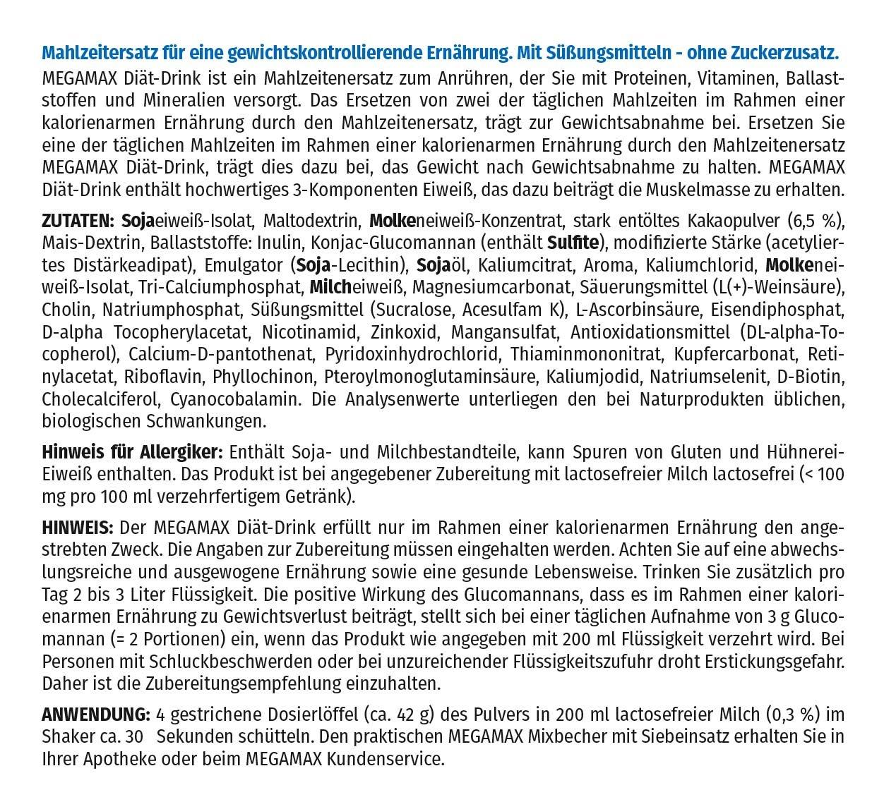MEGAMAX - Diät Drink - Bebida en polvo para adelgazar y ...