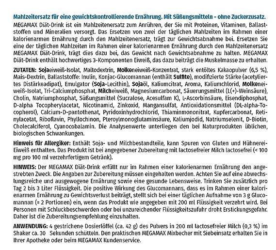 MEGAMAX - Diät Drink - Bebida en polvo para adelgazar y perder grasa - Chocolate - 425 g (17 raciones): Amazon.es: Deportes y aire libre
