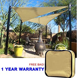 Quictent 18 X 18 X 18 Ft 185G HDPE Triangle Sun Sail Shade Canopy UV Block