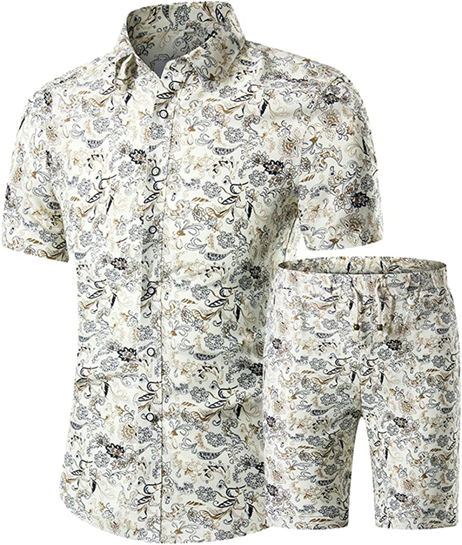 Jotebriyo Mens Shorts Summer Plus Size Two Piece Suit Floral Print Short Sleeve Blouse Shirt Tops