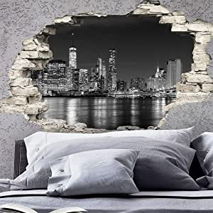 Wall Stickers 3D Effect Self-Adhesive New York Skyline Wall Decoration 60 x 90 cm