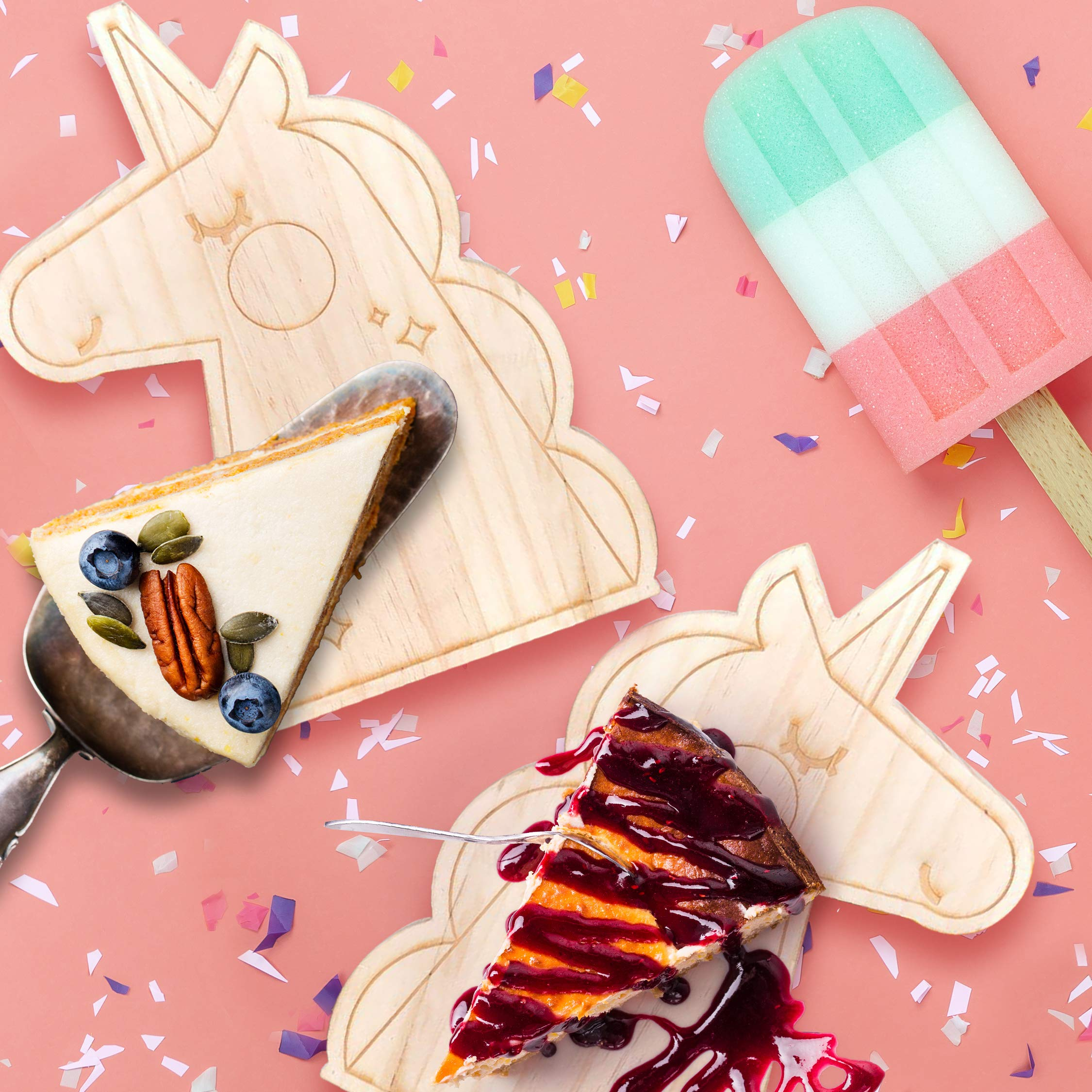 Pillow & Toast Unicorn Cake Wood Party Plate, Birthday Gift Magical Serving Trays for Parties Brunch and Breakfast, Unicorn Kids Gifts by Pillow & Toast (Image #5)