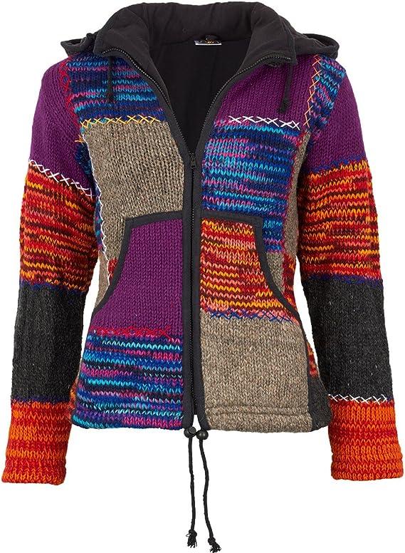 KUNST UND MAGIE Nepal Damen Strickjacke Goa Wolle Jacke mit