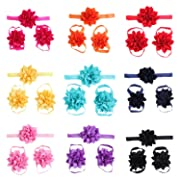 lovinglove 10 Colors Baby Girls Foot Flower Barefoot Sandals Headbands Set-10 Packed