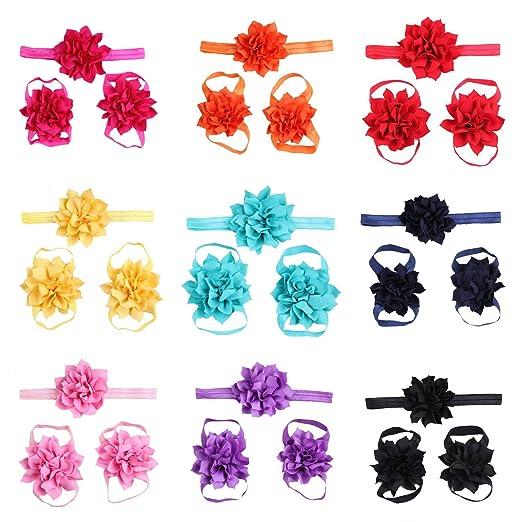 dc08878212fa5c Amazon.com  lovinglove 10 Colors Baby Girls Foot Flower Barefoot ...