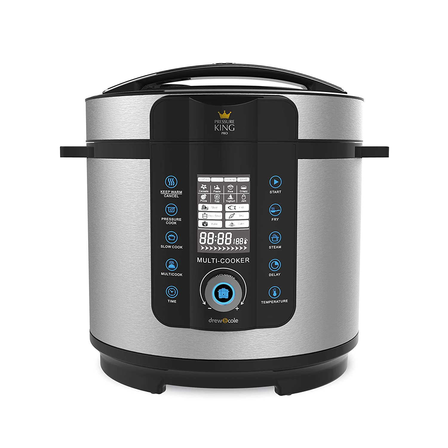 PRESSURE KING Pro Digital Pressure & Multi-Cooker -Chrome 20-in-1 digital cooker for easy meals -Five ways to cook with 14 pre-set functions -Cook from frozen -20 programs (Pizza, cakes, and more)