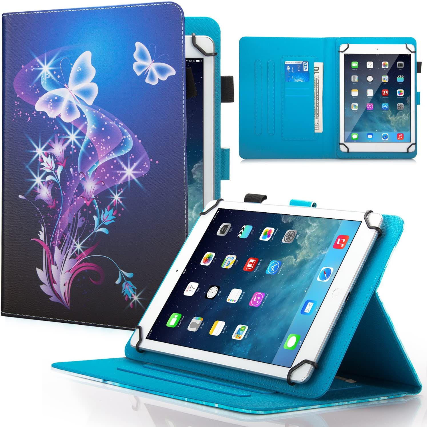"Dteck 7.5-8.5 Inch Universal Case with [Stylus Pen], Stand Wallet Fold Cover for iPad Mini/Galaxy Tab/HD 8"" /Huawei/Lenovo/LG G Pad/Nook/Onn 7.8, 8, 8.3, 8.4 8.5 Inch Tablet, Purple Butterfly"