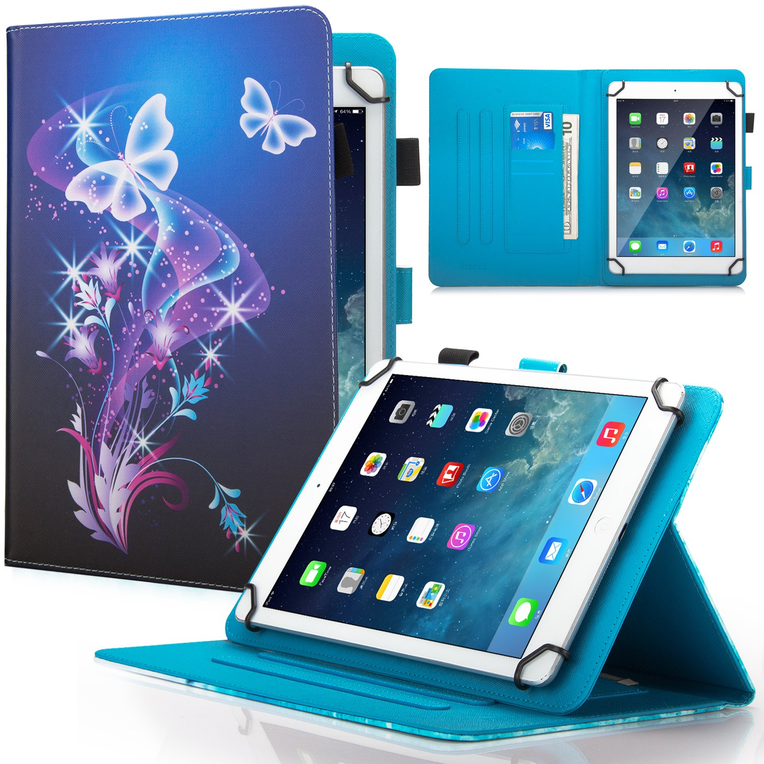 9.5-10.5 inch Universal Case - Dteck Anti-Slip Stand PU Leather Protective Case with Cards Slots Pretty Folio Wallet Slim Cover for All 9.7 10.1 10.5 inch Apple Samsung Lenovo Huawei Tablet-Butterfly