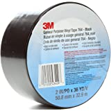 3M Vinyl Tape 764, General Purpose, 2 in x 36 yd, Black, 1 Roll, Light Traffic Floor Marking, Social Distancing, Color…