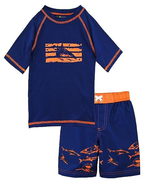 bafc5475 Amazon.com: iXtreme Little Boys Swimwear Shark Short Sleeve Rashguard Swim  Board Short Trunk, Navy, 2T: Clothing